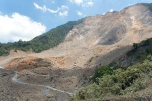 Zosunutý kopec medzi San Cristobal a Chixoy, Guatemala